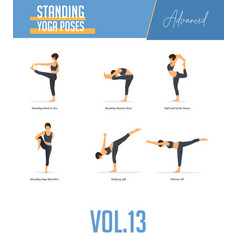 Yoga poses for balancing poses and standing poses vector