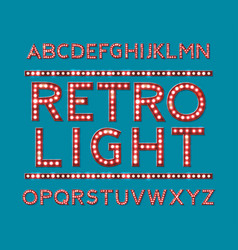 alphabet with bulb lamps red light vector image