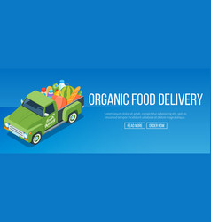 delivery organic food truck vector image vector image