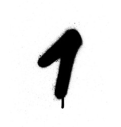 Graffiti sprayed number 1 one in black on white vector