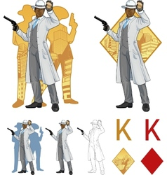 King of diamonds afroamerican police chief and vector image