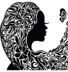 Silhouette of a young woman with flowers in hair vector image vector image