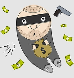 Thief with bag full of money vector image
