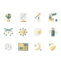 Astronomy flat colored icons vector image vector image