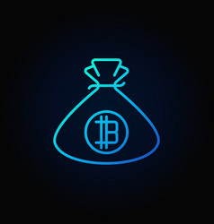 bitcoin money bag blue icon cryptocurrency vector image vector image