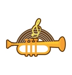 Cartoon trumpet instrument music wind vector