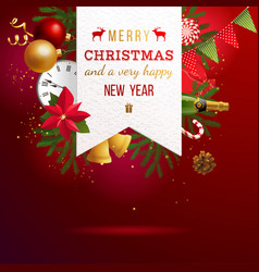 christmas emblem over bright holiday background vector image vector image