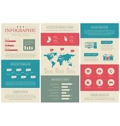 Flat vintage social media infographics vector image vector image
