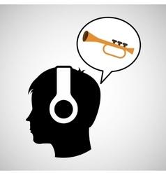 head silhouette listening music trumpet vector image