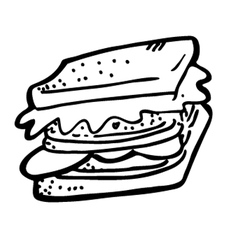 sandwich doodle vector image vector image