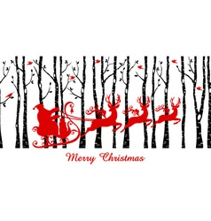 Santa in birch tree forest vector image vector image