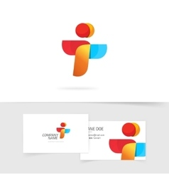 Two element abstract logo and business card vector image