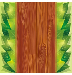 Background with leaves and wooden board vector image vector image