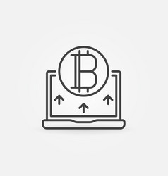 bitcoin with laptop line icon - vector image vector image