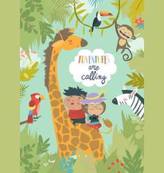 children riding giraffe vector image vector image