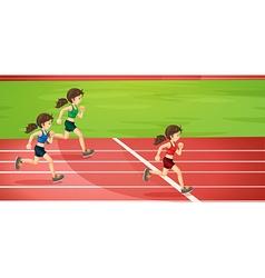 Girls running in the tracks vector image