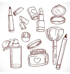 Set of doodles on cosmetics cream face powder vector image vector image