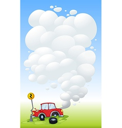 A red car in an accident vector image