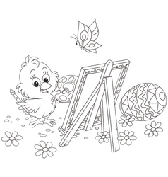 Easter Chick painter vector image