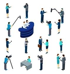 Journalist Work Isometric Icons Set vector image vector image