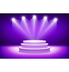 3d violet Illuminated stage podium for award vector image