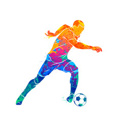 Abstract soccer player running with the ball from vector