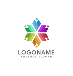 Abstract v man and collective teamwork logo icon vector