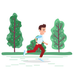 activity sporty person running in park vector image