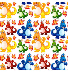 angry dinosaur seamless pattern vector image