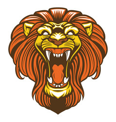 Angry lion roaring mascot vector