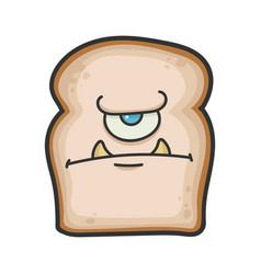 Angry monster slice bread cartoon vector