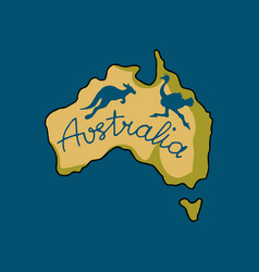 Australia continent in doodle style vector