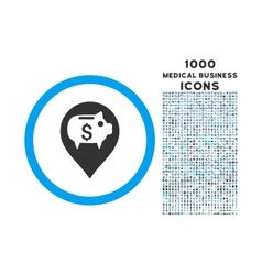 Bank Pointer Rounded Symbol With 1000 Icons vector image