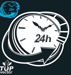 Black and white 3d 24 hours timer around-the-clock vector image
