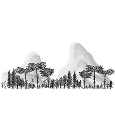 border from trees and mountains on a transparent vector image