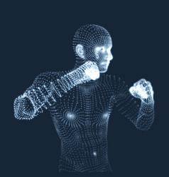 Boxer fighting man 3d model of man human body vector