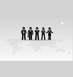 Businessmen and businesswomen standing on top vector
