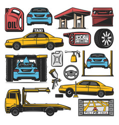 Car repair and service station icons vector