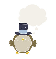 Cartoon owl wearing top hat and thought bubble in vector