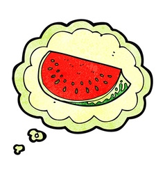 cartoon watermelon slice with thought bubble vector image
