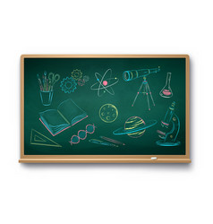 Chalk drawn set science objects vector