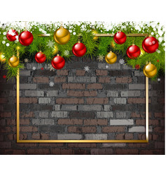 Christmas background on brick wall vector