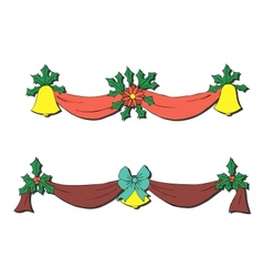 Christmas decoration with bells and bows vector