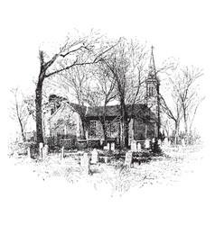 church and graveyard vintage vector image