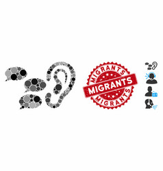 Collage listen gossips icon with textured migrants vector