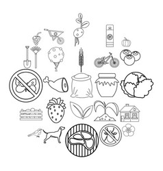 Colony icons set outline style vector