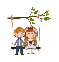 Colorful caricature married couple in swing vector