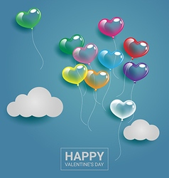 Colorful heart balloons with cloud on the sky for vector