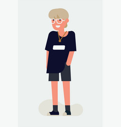 Cool flat character design on casually clothed vector
