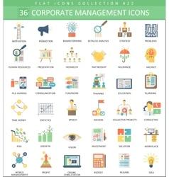 Corporate management color flat icon set vector